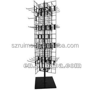 4-Side Spinning Metal Floor Display Stand With Sign Holder
