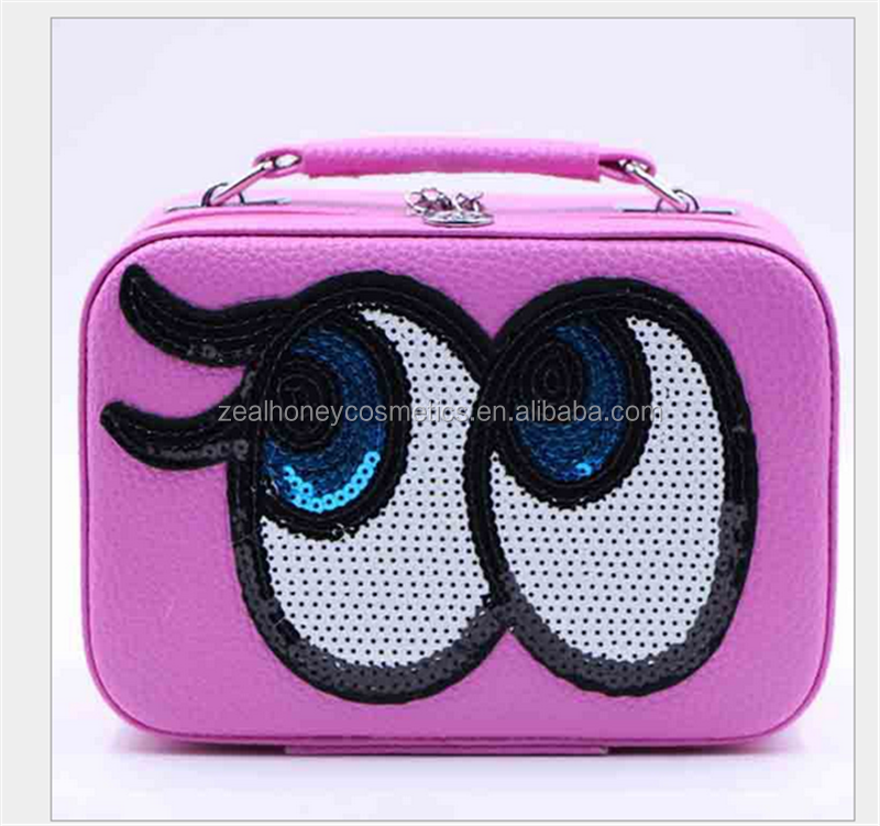 Zealhoney big eyes makeup case with mirror PU candy color makeup bag fashion woman cosmetic bag wholesale