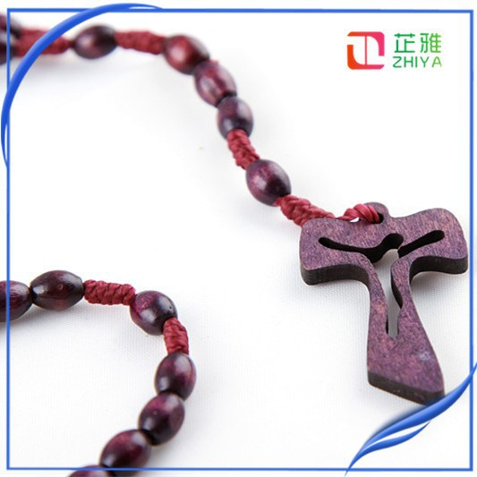 red olive wooden rosary necklace