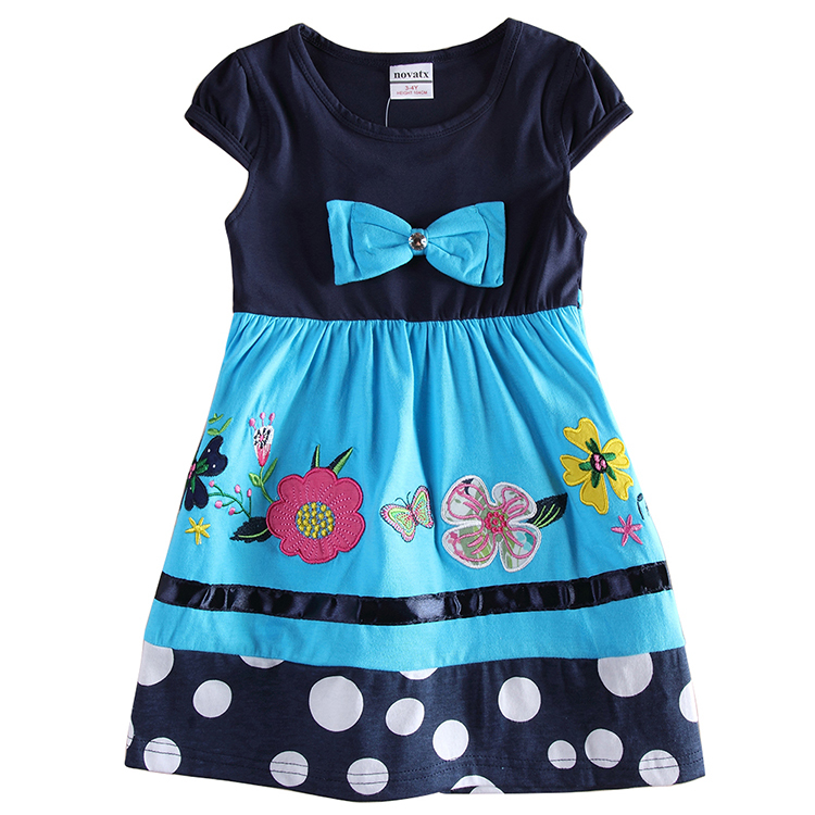 55d1975a66db Buy H6348 NAVY Flower Embroidery Summer Baby Girl Clothes