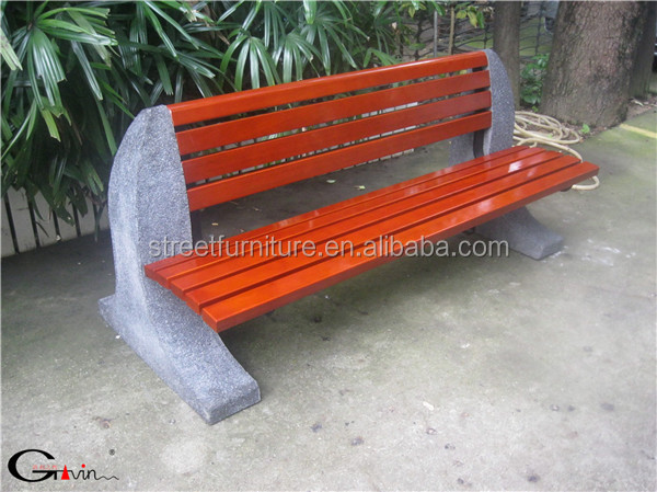 Outdoor Solid Wood And Concrete Garden Bench With Backrest Buy