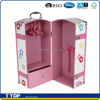 FSC & BSCI Factory Customized Pink Cardboard Doll Trunk
