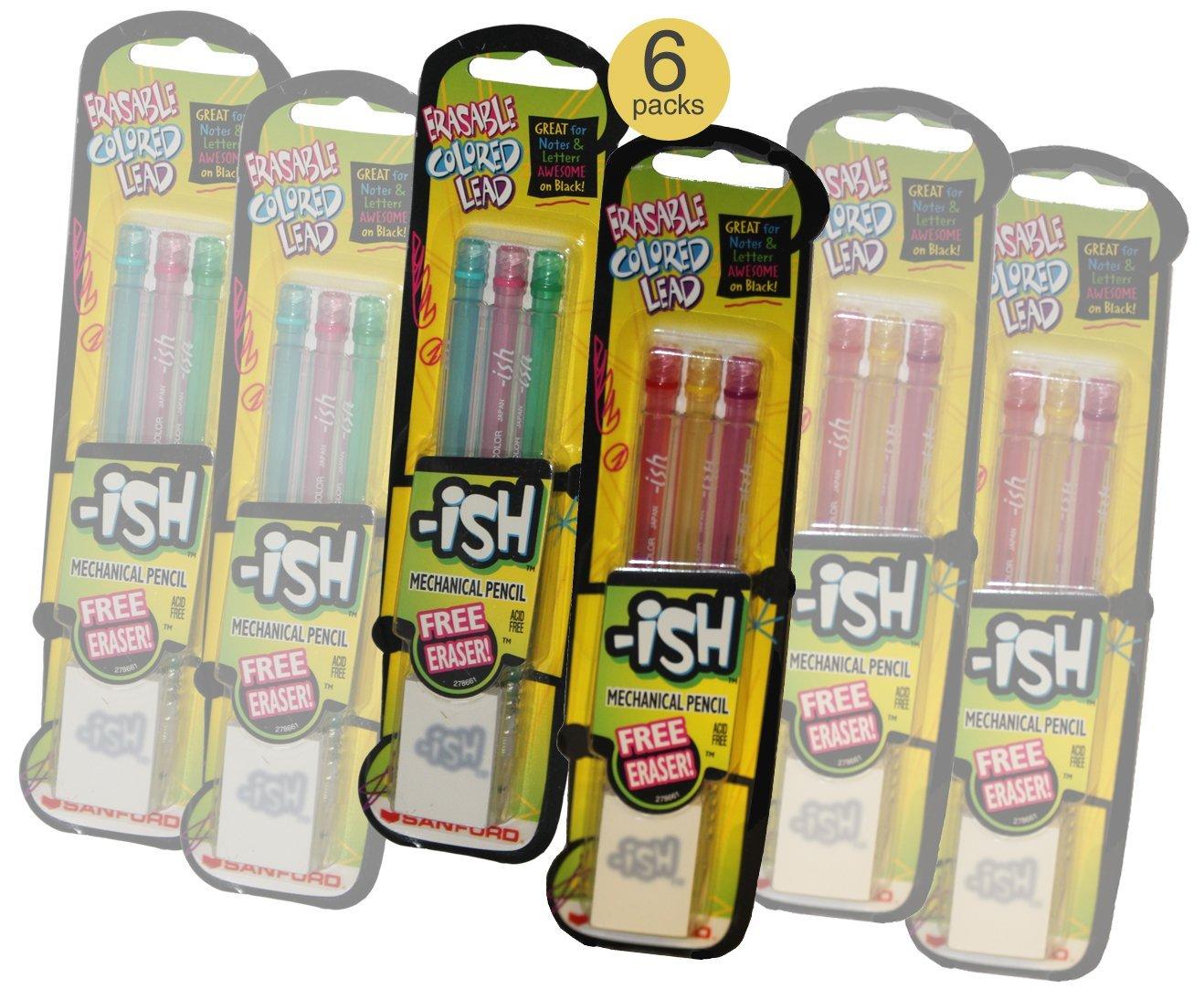 Colored Mechanical Erasable Pencils - Wholesale Bulk Pack of 6 Sets
