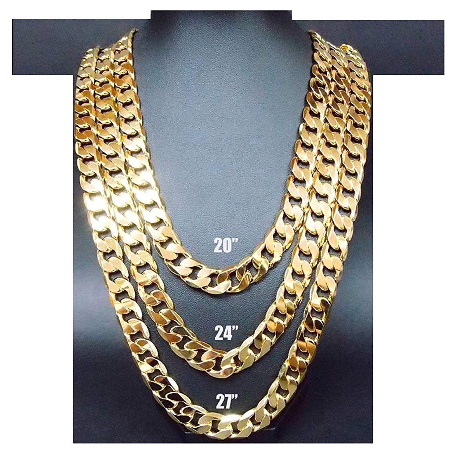 507fe2cb5 Get Quotations · 14K Gold Chain Necklace 9MM Smooth Cuban Curb Link Tarnish  Resistant fashion Jewelry Diamond Cut for