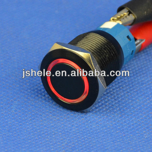16mm 3A//250VAC 12V Red Angel Eye LED Push Button Metal Switch ON//OFF Black Case