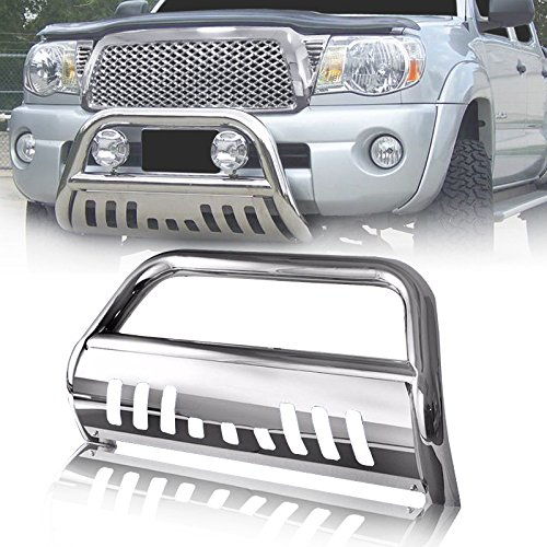 "Mircopower 3"" Bull Bar Skid Plate Front Push Bumper Grill Grille Guards Brush Chrome Stainless Steel Fit 2005-2015 Toyota Tacoma"