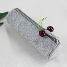 new design customized round bottom wool felt pencil case pen bag with zipper