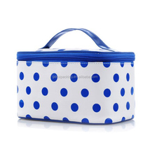 Custom logo polka dots design portable shiny PU cosmetic bag