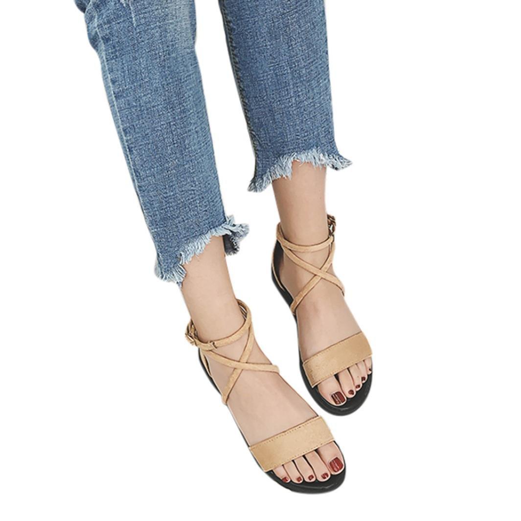 30cead53d71 Get Quotations · Women Flat Sandals Cross Straps Open Toe Buckle Low Heel  Sandals Wedge Summer Heel Pump Sandal