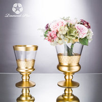 hand blown mercury gold home goods decoration glass cone cylinder pedestal wedding flower vase