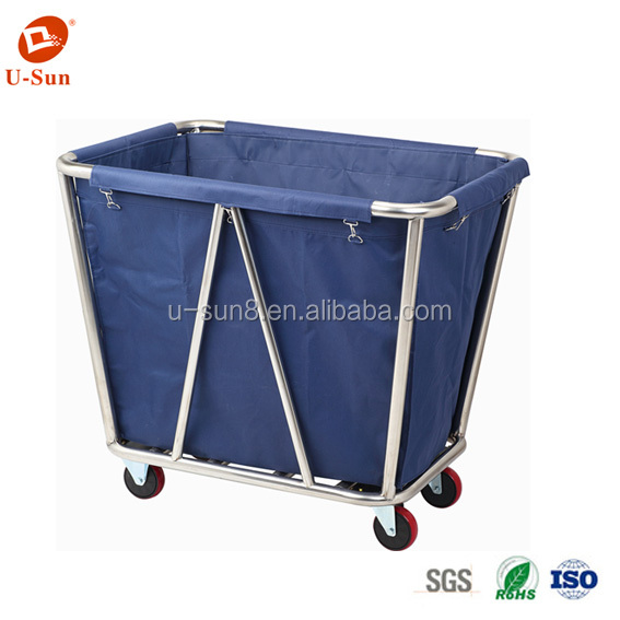 heavy duty stainless steel hotel commercial laundry carts Foldable Laundry Sorter Cart Linen Utility Cart