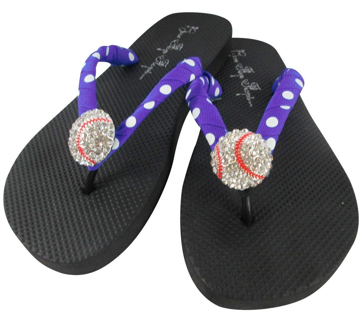 e54ccd63f8ee Get Quotations · Purple Polka and Black Baseball Sparkle Flip Flops