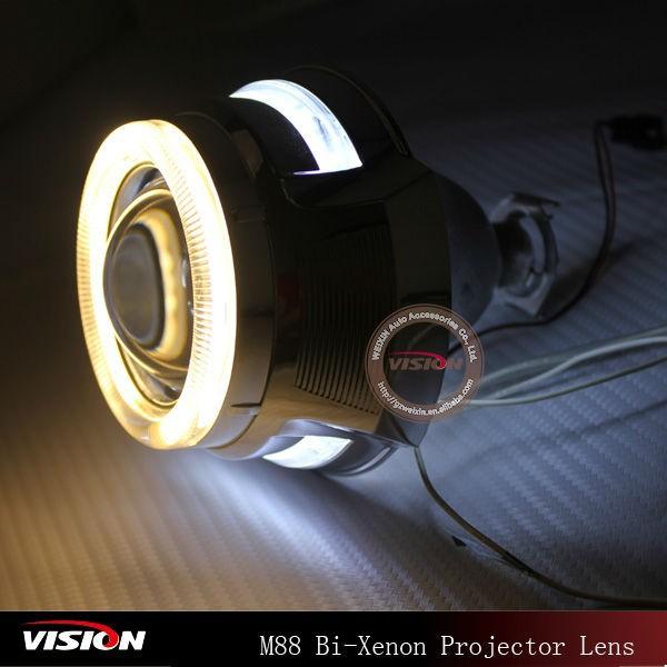 Angel Eyes Hid Head Lights For Bike 2 5inch H1 Xenon Bulb Angel