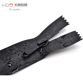 HOO  Eco-friendly Invisible Waterproof close end Nylon Zipper, Nylon Water Resistant Zipper for cycling ,bags