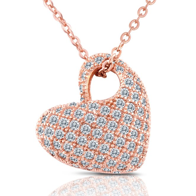 Wholesale 18K Rose Gold Heart Shape Zircon Stones Necklaces For Girlfriend