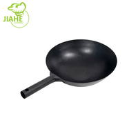 Black Flat Bottom Single handle Coating Carbon Steel Cooking Wok