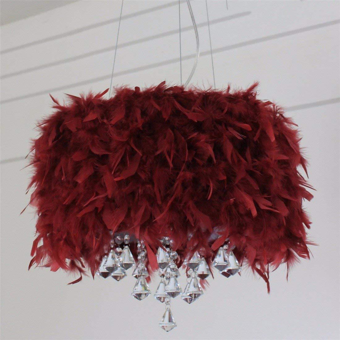 LAONA Creative crystal lamp, LED living room, study room, bedroom, simple modern European romantic feather pendant lamp,40CM-Red wine