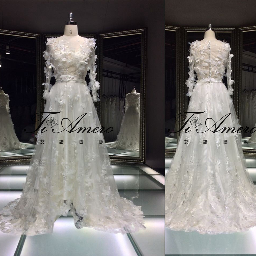 Robe De Soiree Dresses For Autumn Ball Butterfly Appliqued Long Sleeve Wedding Dress Lace A-line
