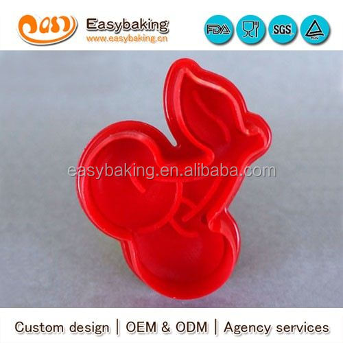 CP-0318 Customized cherry Stamp Plastic Cookie Cutter
