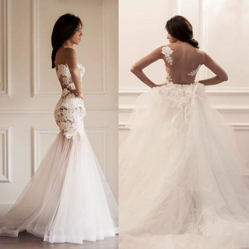 Detachable Wedding Gown: Vestidos Verao 2016 Mermaid Wedding Dress Sheer Lace