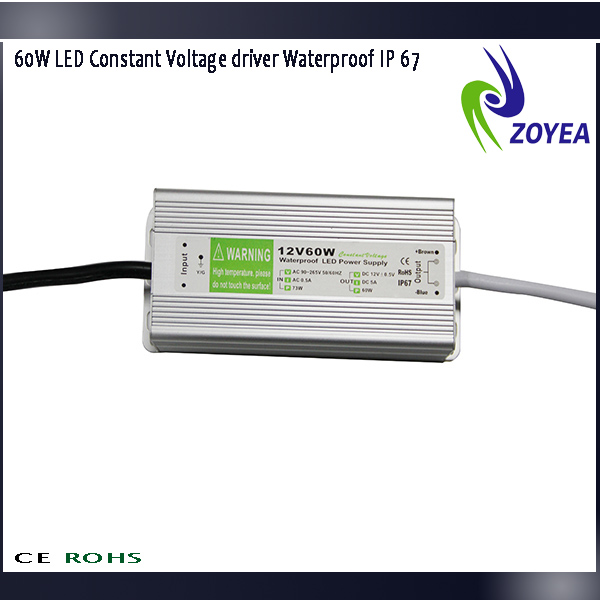 waterproof IP67 constant voltagemeanwell switching power supply CE&ROHS certificated 12v 5A 60w