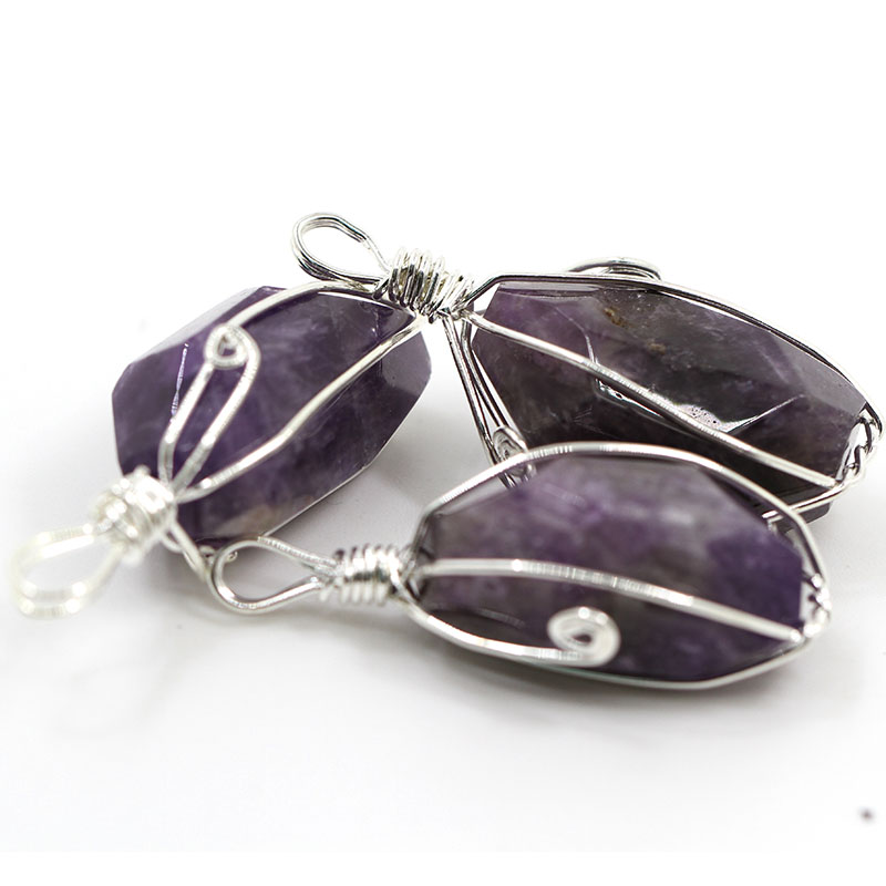 New Design Irregular Awesome Amethyst Stone Necklace Pendant Handmade Gemstone Jewelry Pendent