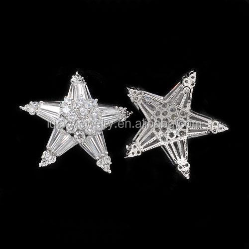Chic Fashion Fine Quality Big Clear AAA Zircon Stones Silver Color Stud Earrings in Star Shape Wholesale Price for Women Jewelry