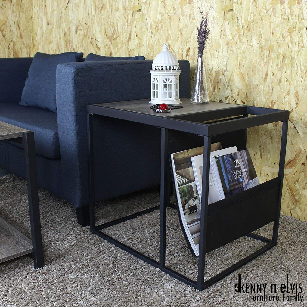 "KennynElvis 23"" Wooden Metal Side Table with Nylon Magazine Rack, powder coating, Wooden, Black"