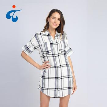 Custom Made Fancy Cotton Lady Short Sleeve Check Long Shirts Designs ... a3b841586
