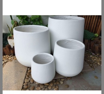 Factory S Light Weight Durable Round White Garden Large Clay Pots For