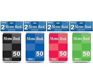 "6 Pk, BAZIC 4"" X 6"" Top Bound Spiral Memo Books 50 Ct. Each(12 Books in Total)"