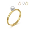 New arrival latest gold finger ring design mini white pearl 18k gold plated wedding ring