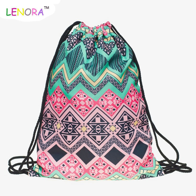 2018 The new 3D digital print bouquet pocket with mandala trim pocket shopping holds the bungee cord backpack