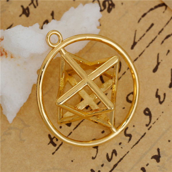 Round Gold Plated Hollow Copper Merkaba Meditation Pendants
