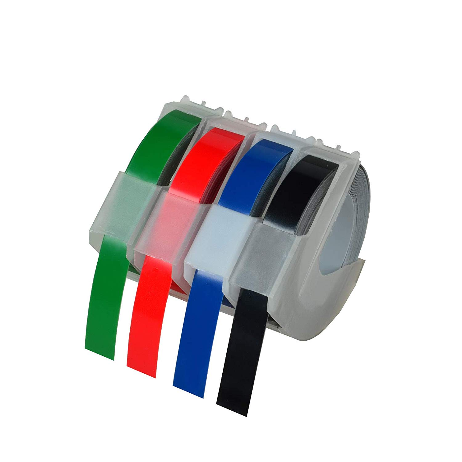 99a80b83d9f967 KCYMTONER 4 roll Pack Replace DYMO 3D Plastic Embossing Labels Tape for  Embossing White on Red Green Blue Black 3 8   x 9.8  520102 520103 520106  520109 for ...