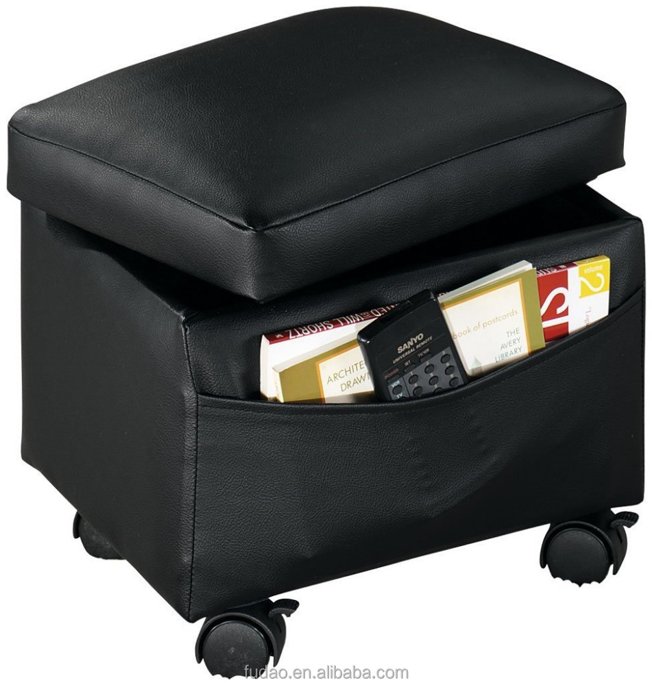 cube stool upholstered footrest storage leather ottoman with wheels