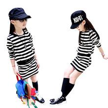 Girl Dress Autumn 2016 Long Sleeve Black & White Stripes Girls Cotton Dress Teenage Dress vestidos Infantis Clothes