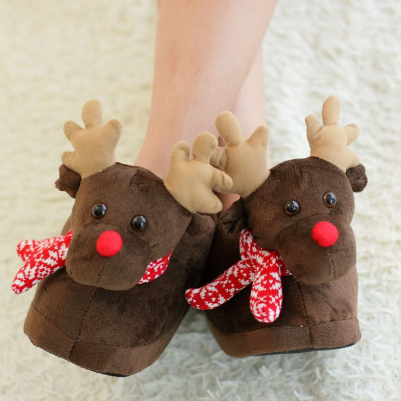 adults reindeer christmas novelty slippers
