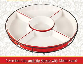 Porcelain Round Compartment Plate Ceramic 5 Pcs Divided Plates