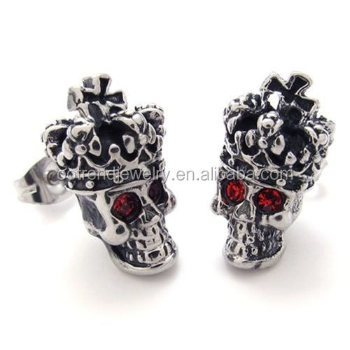 Ruby eyes skull design earring accessories supplies
