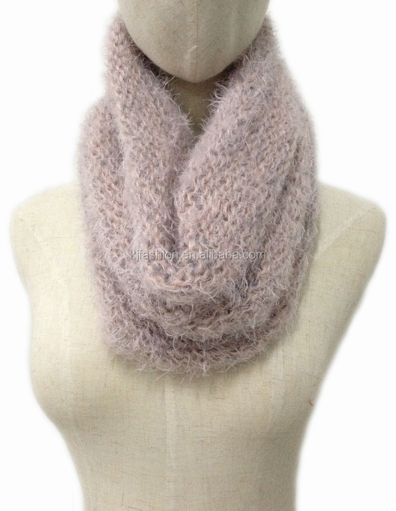 Light Color Round Neck Knit Infinity Scarf Acrylic Feather Yarn ...