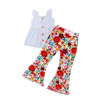 Baby girls flower bell bottom capris clothes children summer cotton tops icing capris outfits