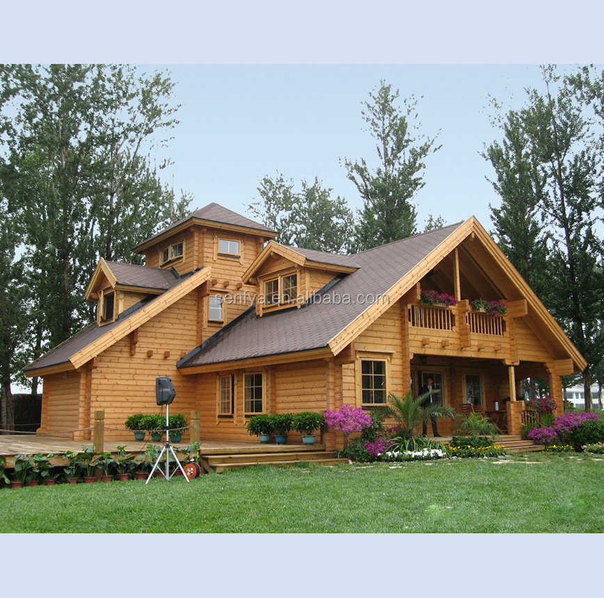 popular russia pine wood high quality two floor low cost cabin outdoor wooden house
