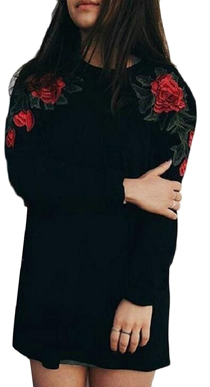 CBTLVSN Women's Floral Printed Embroidery Round Neck Vogue Sweatshirt