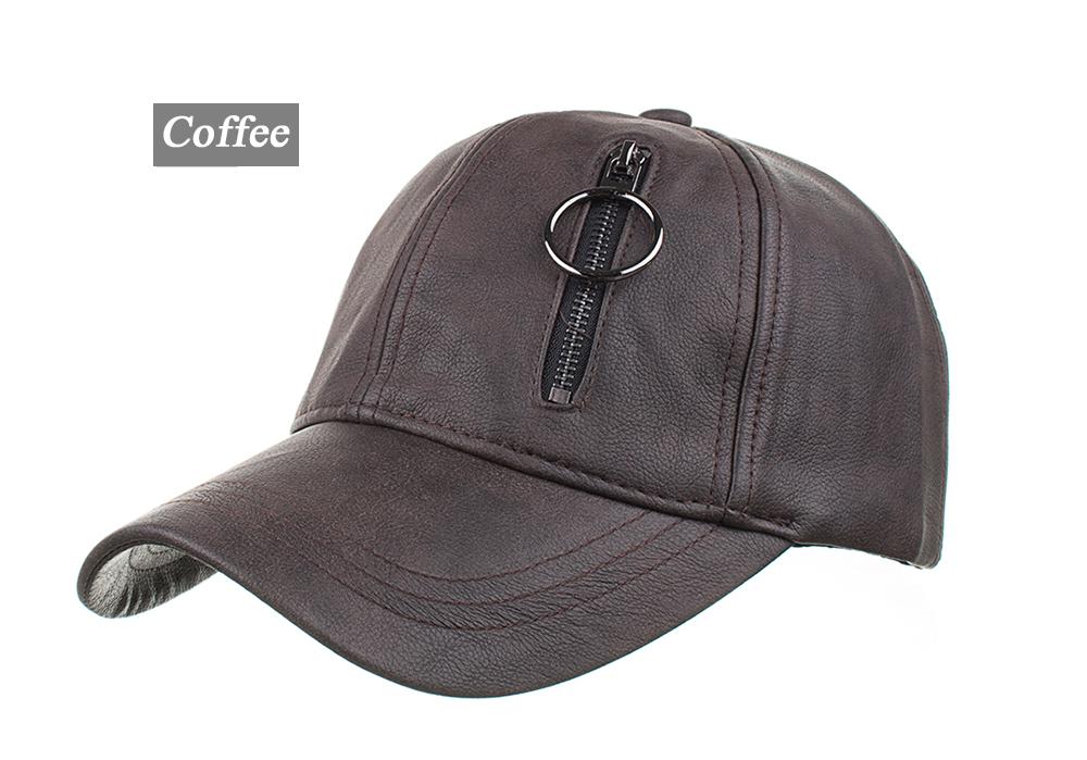 145af6f2a3c6 AKIZON New Arrival Winter PU hat with zipper real pocket snapback ...