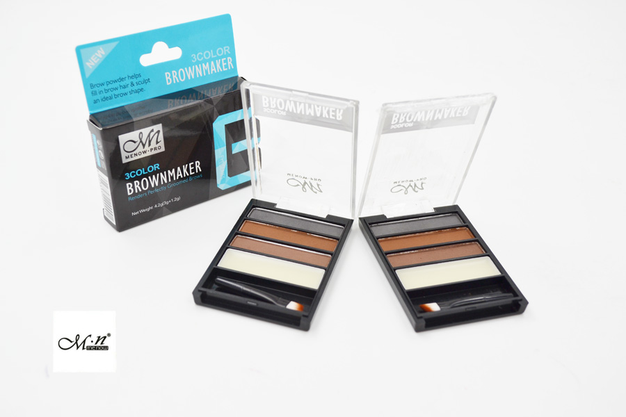 Menow E16001 High Quality 3 Colors Waterproof Eyebrow Powder Palette with Wax