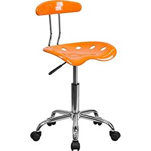 Parkside Vibrant Orange and Chrome Task Chair with Tractor Seat