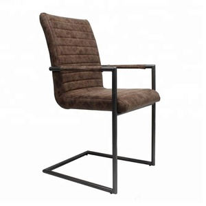 hot sale sample design iron arm legs brown leather bar chair for cafe dining room