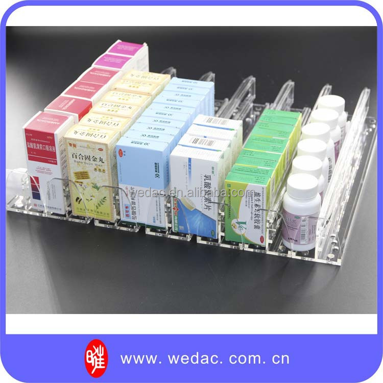 durable four acrylic shelves wooden medicine display display rack with