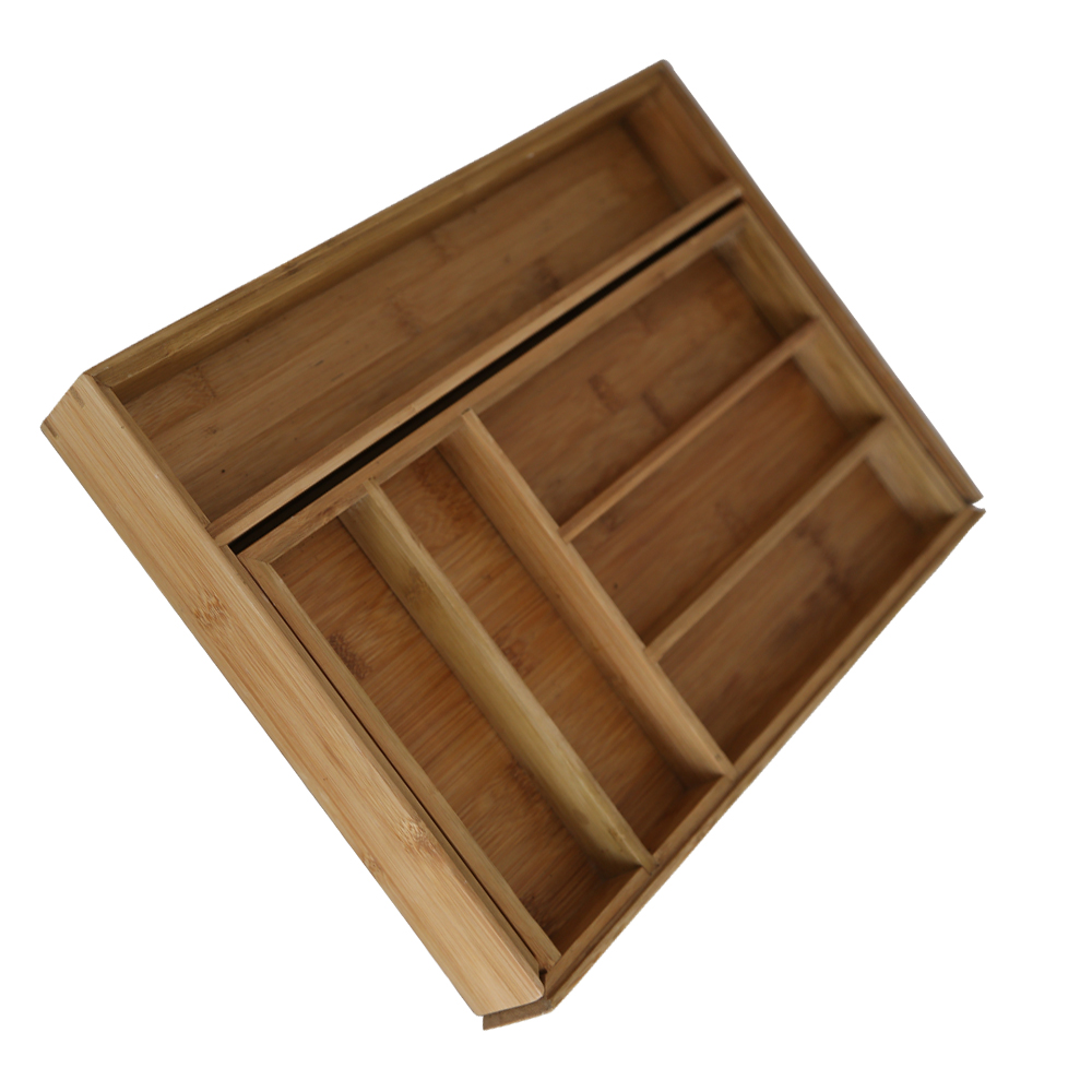 Tableware Bamboo Expandable Drawer Organizer Cutlery Box